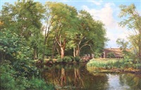 forest scenery with a house by a stream by carl frederik peder aagaard