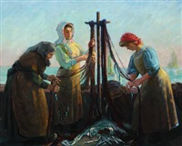 the fishermen's wives doing the net by max nathan