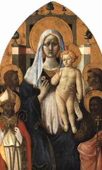 thronende madonna mit kind und 4 heiligen by domenico di michelino