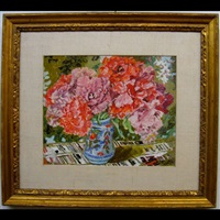 red double tulips by lillian mackendrick