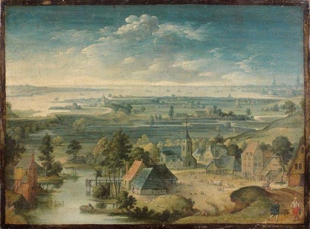 vue panoramique dun village des flandres à droite la ville danvers by hans bol
