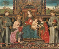 the madonna and child enthroned with saints francis of assisi, jerome, catherine of alexandria and anthony of padua by antonio massari da viterbo