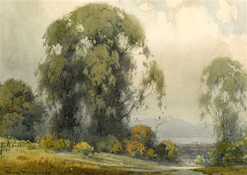 eucalyptus with the bay in the distance by percy gray