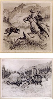 cowboy fun (+ cowboy and pack horses fjording a stream; 2 works, 1 smaller) by reinhold h. palenske