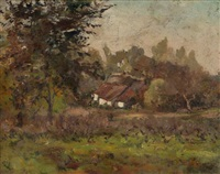 landscape with cottage by guillaume vogels