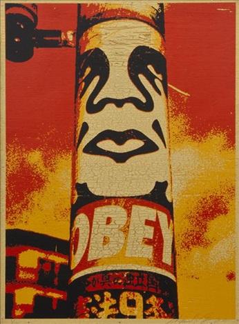 obey pole wood by shepard fairey