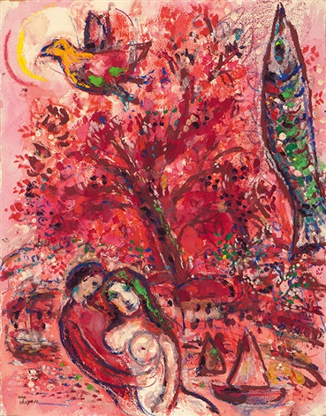 cirque rouge variante by marc chagall
