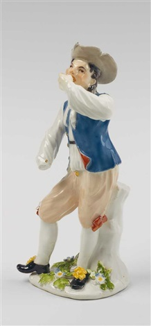 a meissen porcelain figure of a peasant chewing tobacco