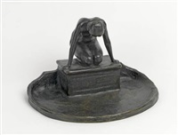 inkwell with kneeling nude by maude sherwood jewett