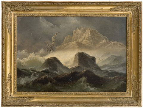 storm by the norwegian coast by knud andreassen baade