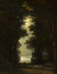 road along the bank of őresund. night view by aleksei petrovich bogolyubov