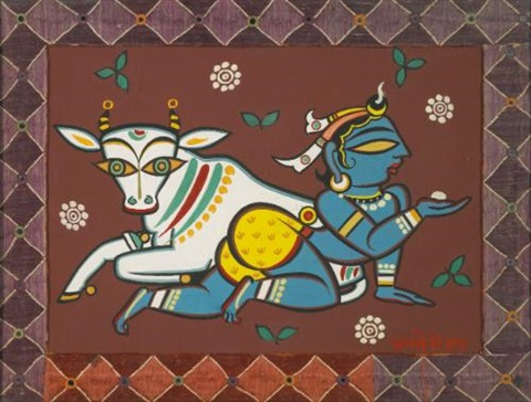 untitled krishna with cow by jamini roy