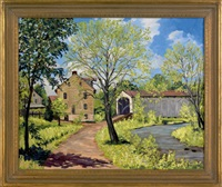 landscape with farmhouse and covered bridge by harry martin book
