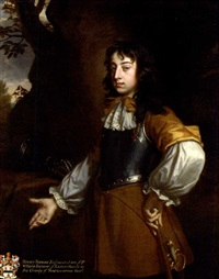 portrait of henry fermor in a buff coat and breastplate, holding a cane, by a tree by john greenhill