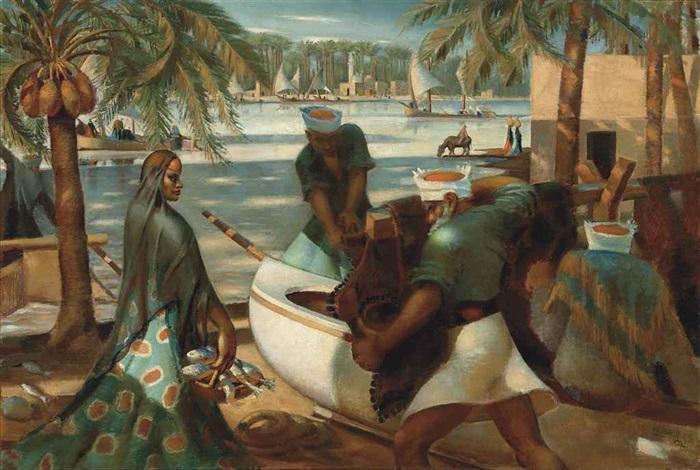 pêcheurs à rashid (rosette) by mahmud said