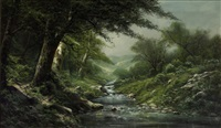 stream through a wooded landscape by ransom gillet holdredge