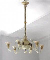 chandelier with six arms by barovier & toso (co.)