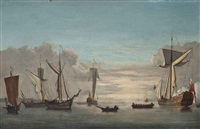 an admiralty yacht signalling her departure from the anchorage by francis swaine