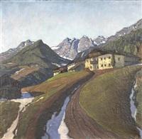 tiroler berglandschaft mit gutshof by lois alton