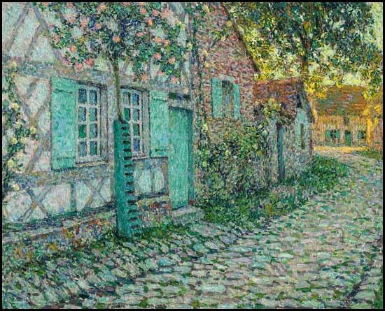 les roses sur la maison, gerberoy by henri le sidaner