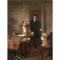sir joshua reynolds visiting goldsmith in his study by john faed