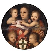 la charité et deux amours tenant le blason de la famille piccolomini by andrea piccinelli