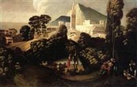 landschaft mit schafhirten und -herde vor einer befestigten stadt by battista (de luteri) dossi