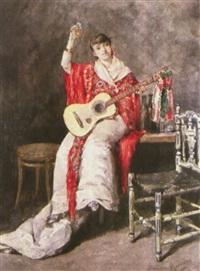 mujer con guitarra by jose maria manresa