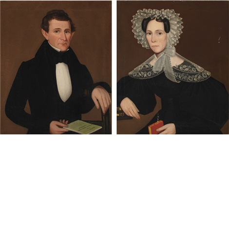 portraits of a lady and gentleman from dover plains new york 2 works by ammi phillips