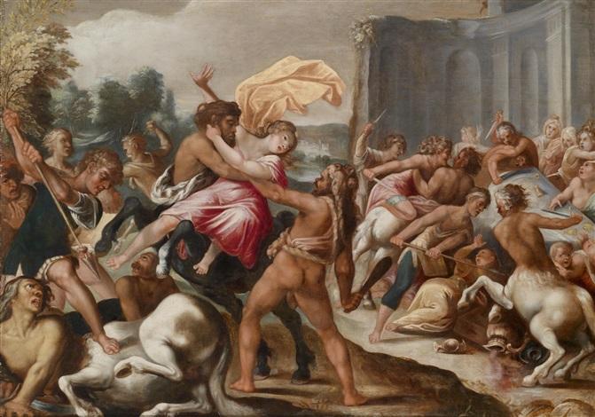 herkules befreit seine braut dejanira aus den armen des kentauren eurytion hygin fab 33 by hans rottenhammer the elder