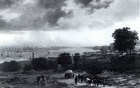 view of new york from the weehawken heights by joseph vollmering