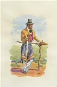 gaucho lancero fumando, gaucho en el palenque (2 works) by federico reilly