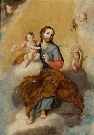 saint joseph portant lenfant jésus by miguel cabrera