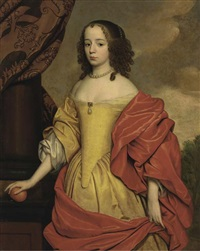 portrait of a lady, three-quarter length, holding an orange, wearing a yellow dress and orange wrap, with trees beyond by anglo-dutch school (17)