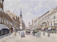 die innere mariahilferstraße by raimund von (baron) stillfried-rathenitz