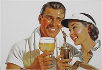 man and woman celebrating tennis victory with glass of beer by harry fredman