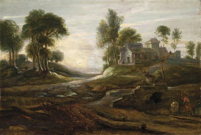 paysage vallonné avec chevaux près dun pont by lucas van uden