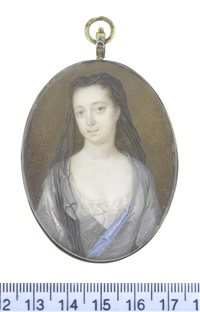 a lady, wearing grey robe with blue lining over her white chemise, her dark hair upswept, supporting a sheer black veil falling before her right shoulder by bernard (goupy) lens iii