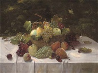 fruit in a basket on a draped table by alois zabehlicky