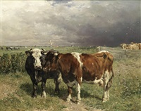 cattle in a pasture by johannes hubertus leonardus de haas