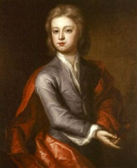portrait of a boy in a lilac coat and a red cloak by charles d' agar