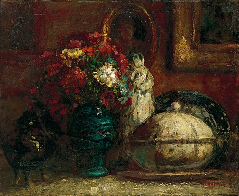 靜物花瓶 still life with flowers and porcelain by alfred théodore joseph bastien