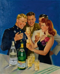 par-t-pack cola advertisement with woman and u.s. servicemen by frederick sands brunner