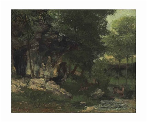 paysage avec biches by gustave courbet