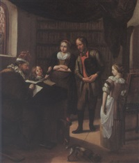 an interior with a family before a notary making a contract by hendrik (h.) de valk
