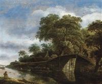 paysage avec pont et rivière by roelof van vries