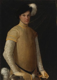 portrait of a young man wearing a plumed hat, a yellow doublet with slashed sleeves, lace cuffs and collar, resting his right hand on a plumed helmet by nicolo dell' abbate