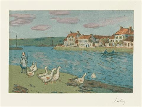 bord de rivière les oies from album destampes originales de la galerie vollard by alfred sisley