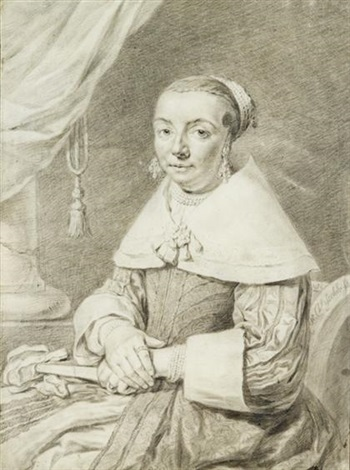 portrait of a seated lady by cornelis visscher