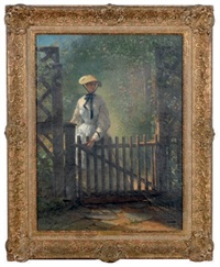 a young lady at the garden gate by thomas hicks